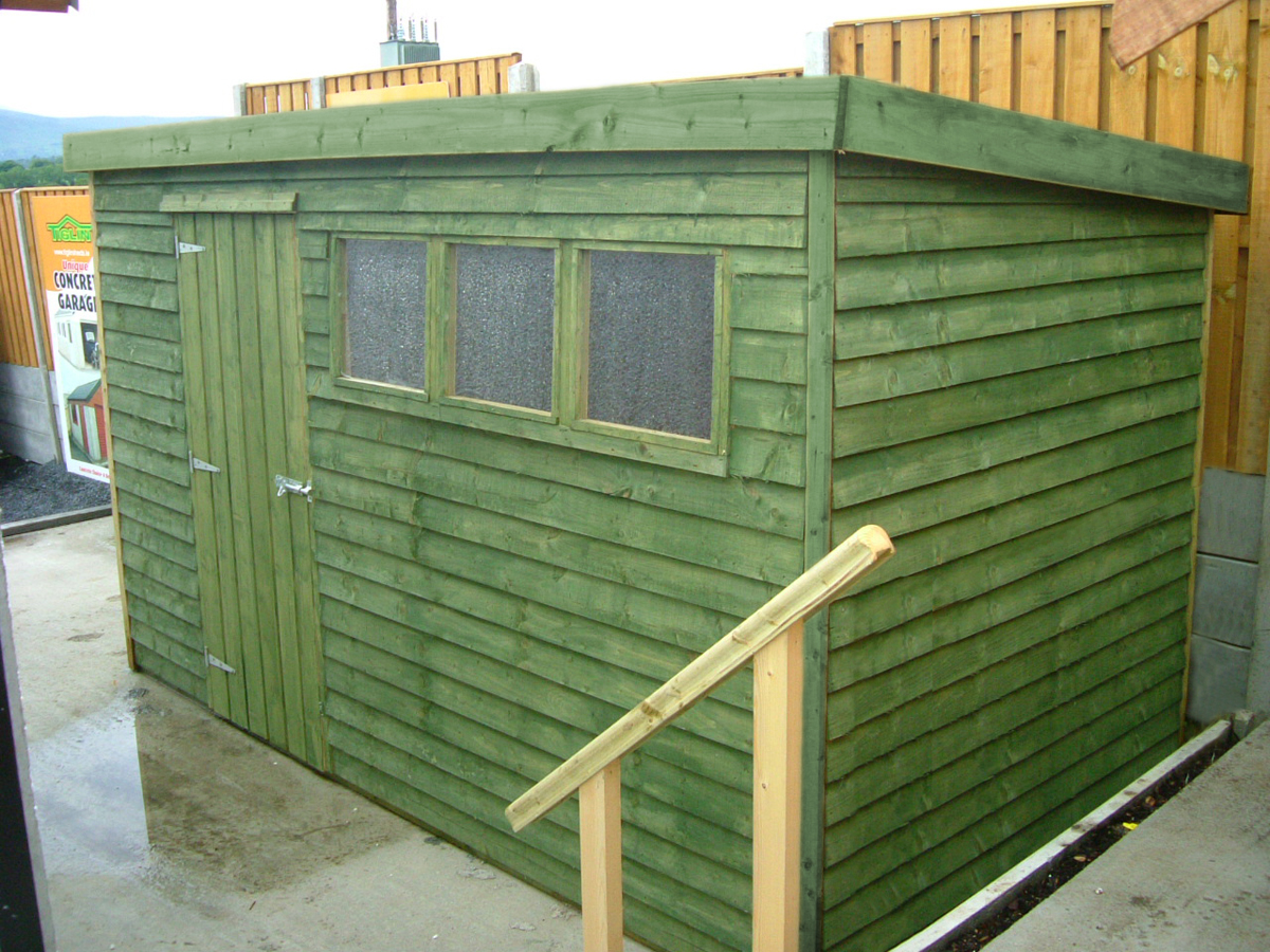 ... 05 12x6 Rustic Shed Flat Roof Green ...