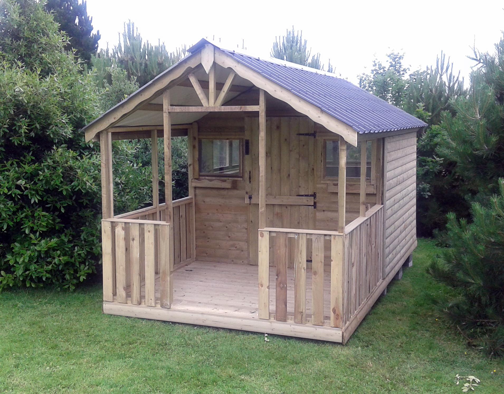 09 12x8 barrelboard verandah shed 5ft verandah tile effect roof - Garden Sheds With Veranda