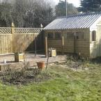 13 14x10 T&G Tan Shed with metal roof
