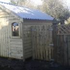 14 14x10 T&G Tan Shed with metal roof