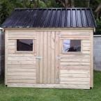 37 10x8 Cottage Style T&G Tan Shed Black Box Profile Roof