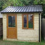 39 10x8 Cottage Style T&G Tan Shed PVC Door & Window Black Box Profile Roof