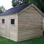 38 10x8 Cottage Style T&G Tan Shed Black Box Profile Roof